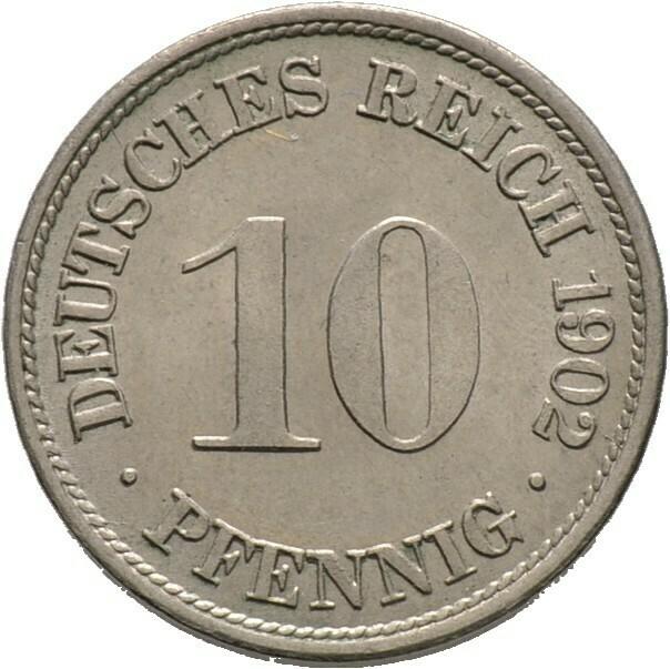 10 Pfennig 1902 F, Kleinmünzen, Deutsche Münzen ab 1871