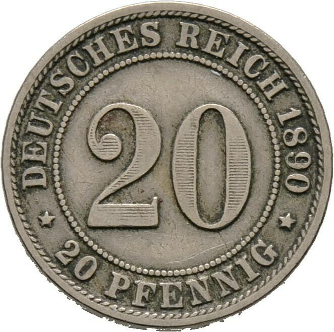 20 Pfennig 1890 D, Kleinmünzen, Deutsche Münzen ab 1871