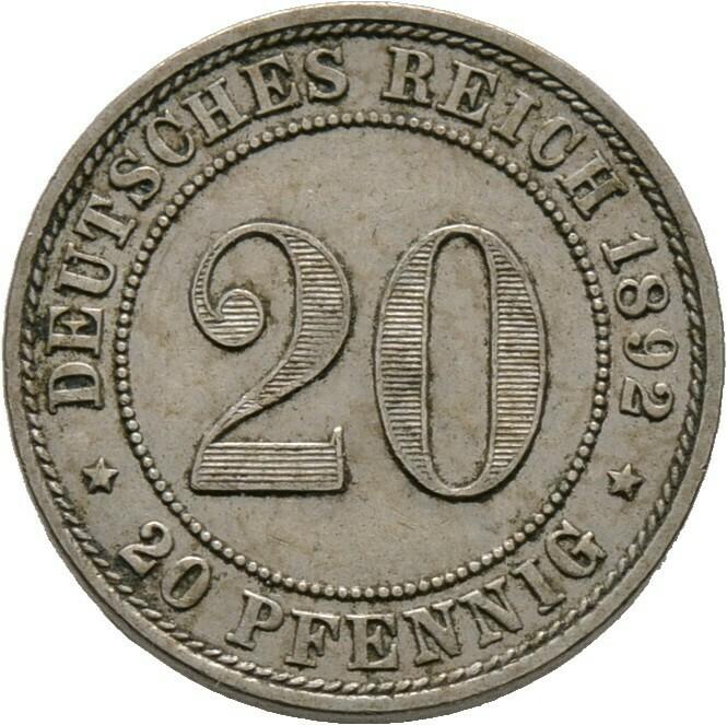 20 Pfennig 1892 A, Kleinmünzen, Deutsche Münzen ab 1871