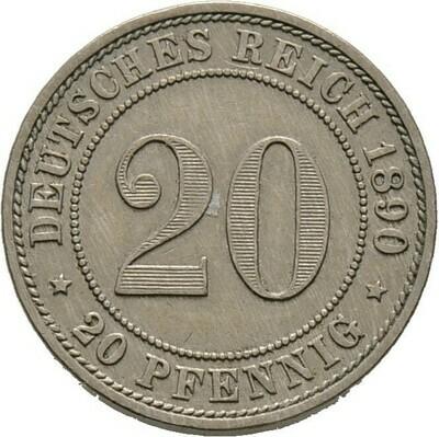 20 Pfennig 1890 A, Kleinmünzen, Deutsche Münzen ab 1871