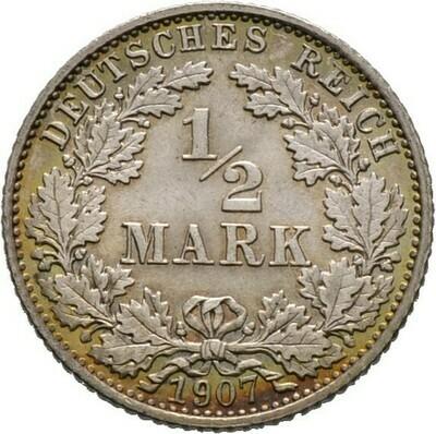 1/2 Mark 1907 E, Kleinmünzen, Deutsche Münzen ab 1871