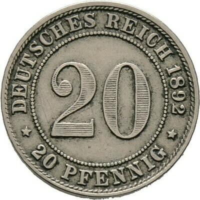 20 Pfennig 1892 G, Kleinmünzen, Deutsche Münzen ab 1871