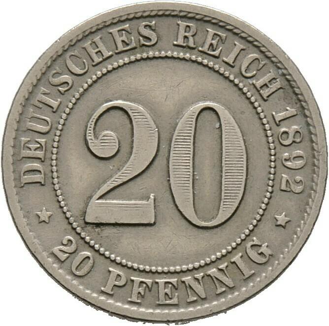 20 Pfennig 1892 F, Kleinmünzen, Deutsche Münzen ab 1871