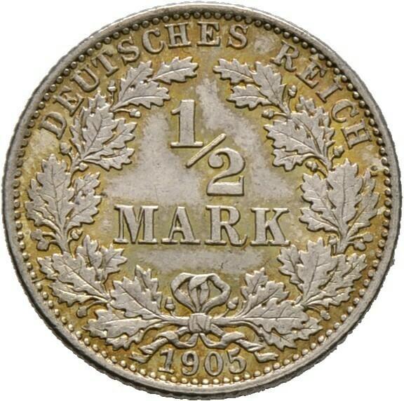 1/2 Mark 1905 E, Kleinmünzen, Deutsche Münzen ab 1871