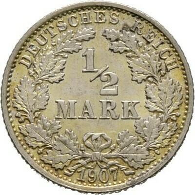 1/2 Mark 1907 F, Kleinmünzen, Deutsche Münzen ab 1871