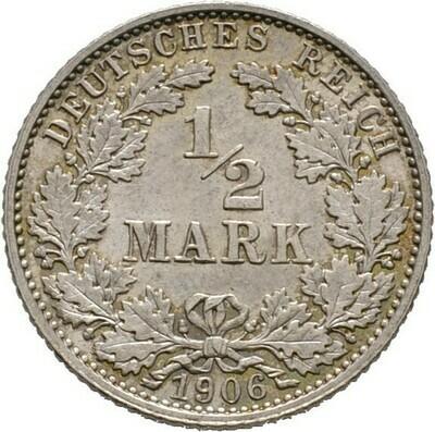 1/2 Mark 1906 E, Kleinmünzen, Deutsche Münzen ab 1871
