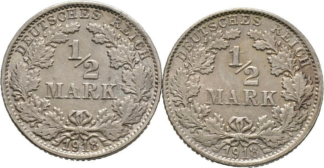 Lot (2 Stücke): 1/2 Mark 1918 F, Kleinmünzen, Deutsche Münzen ab 1871