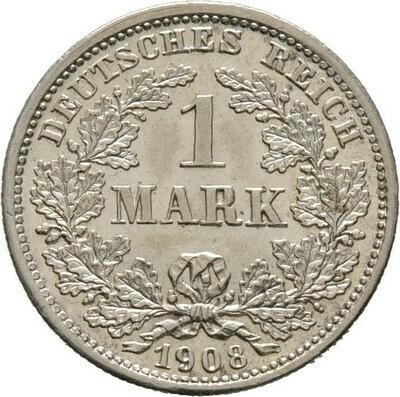 1 Mark 1908 D, Kleinmünzen, Deutsche Münzen ab 1871