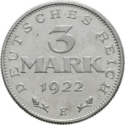 3 Mark 1922, I. Weltkrieg und Inflation