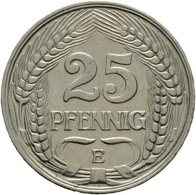 25 Pfennig 1909 E, Kleinmünzen