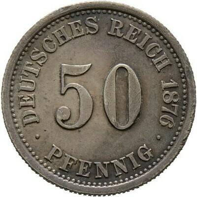 50 Pfennig 1876 F, Kleinmünzen