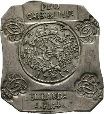 Notklippe zu 1 Gulden 4 Kreuzer 1713, Karl Alexander, Württemberg