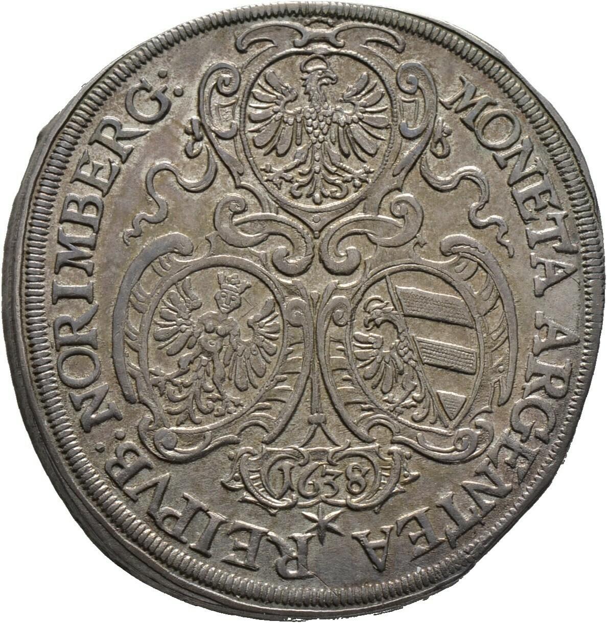 Taler 1638 (im Stempel aus 1637 geändert), Nürnberg, Stadt