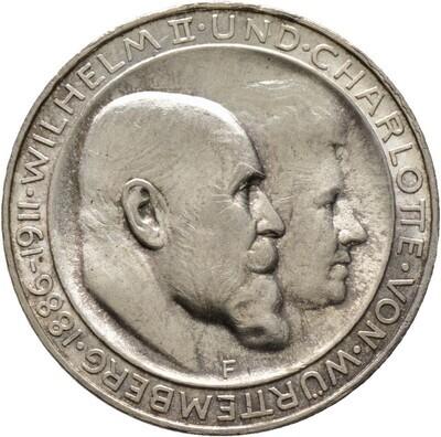 3 Mark 1911 F, Wilhelm II., Württemberg