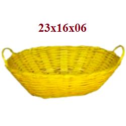Cesta Barquinha M Amarelo Bambu 1287-6 Sa Artesanatos