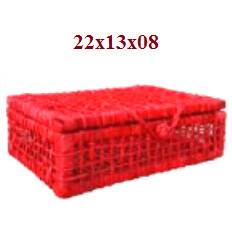 Cesta Maleta Mini Palha Aberta N.1 Vermelha 3533-0 Sa Artesanatos