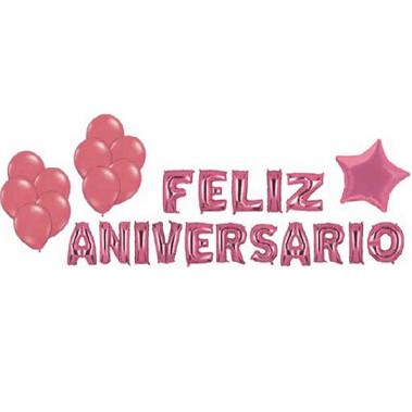 Kit Balao Feliz Aniversario Estrela/Latex Rosa 27Un 84450 Neotrentina