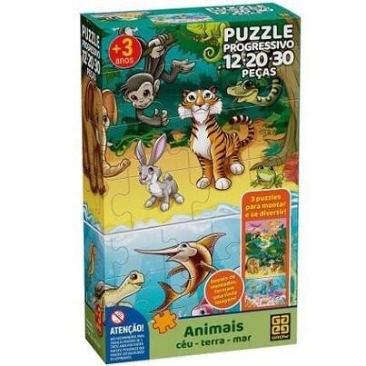 Puzzle Progressivo Animais Ceu/Terra/Mar 04054 Grow