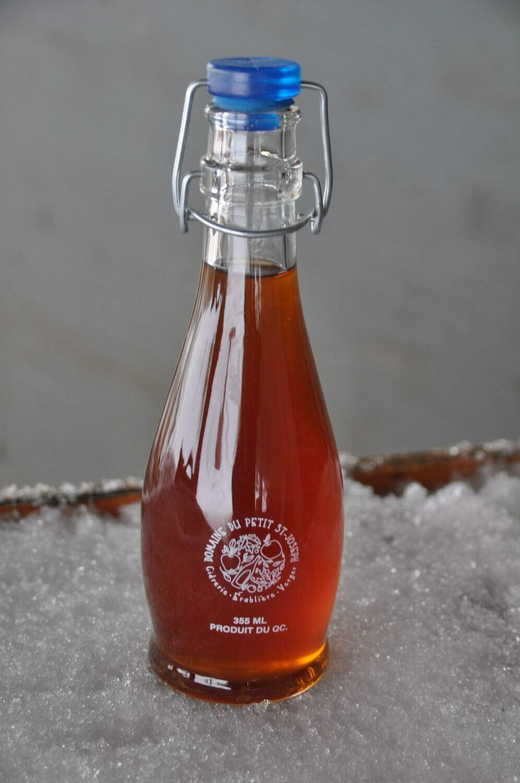 Bouteille de sirop d'érable ambré avec logo sérigraphié 355ml