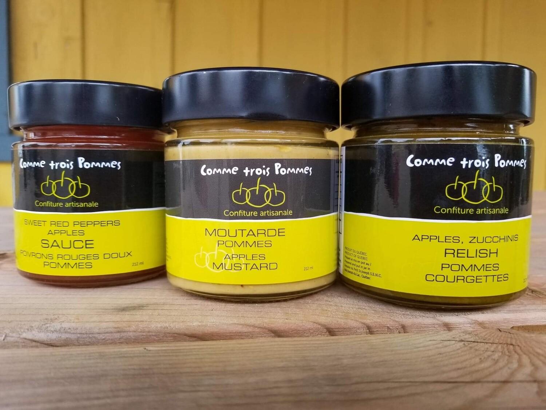 Trio moutarde, relish, sauce poivron pomme
