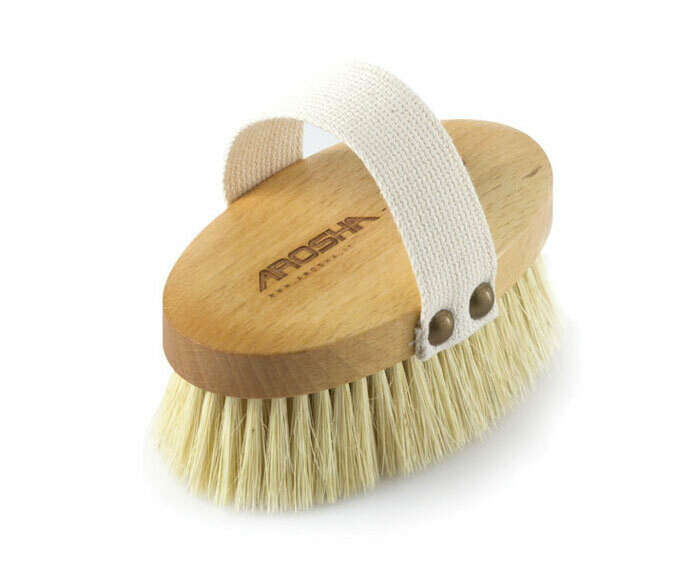 AROSHA – Szczotka do Ciała 100% naturalna, idealnie masuje skórę, pobudza krążenie, relaksuje i pomaga w walce z cellulitem