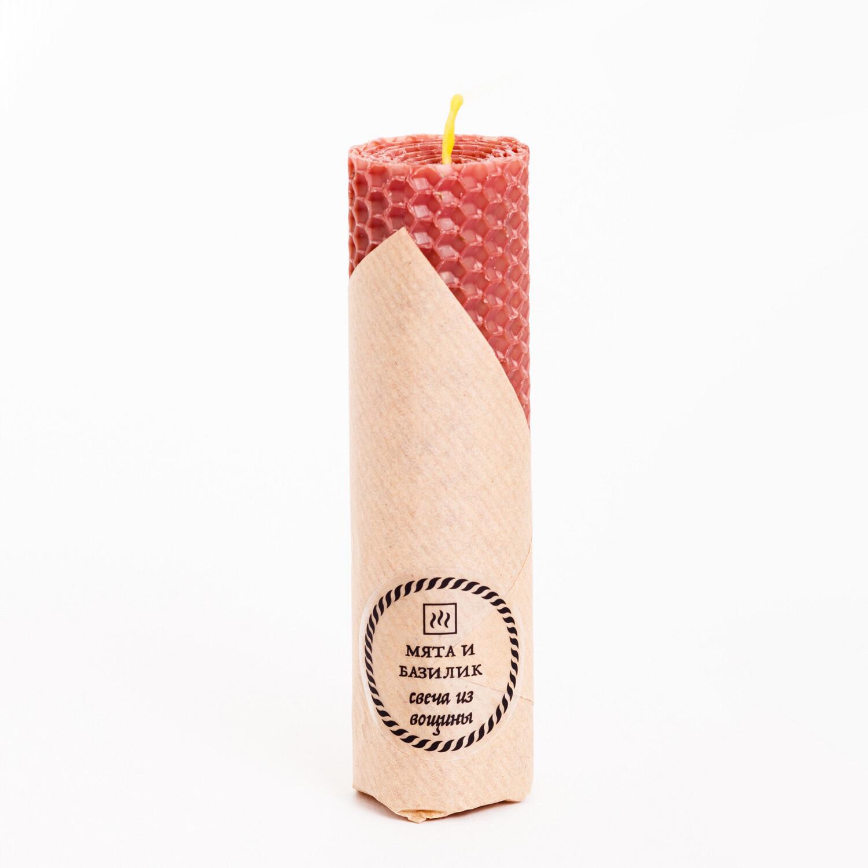 Свеча из вощины с Мятой и Базиликом, 45 гр