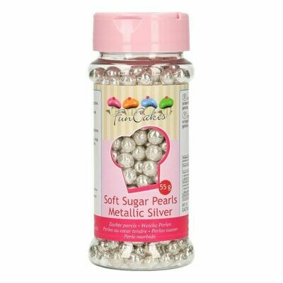 FunCakes weiche Perlen Metallic Silber 55g