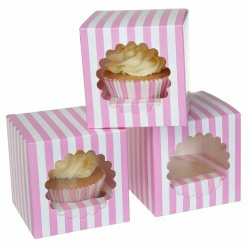 House of Marie Cupcake Box 1 -Circus Pink- Pkg/3