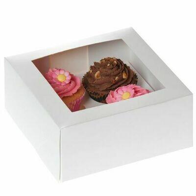 House of Marie Cupcake Box 4 -White- Pkg/2