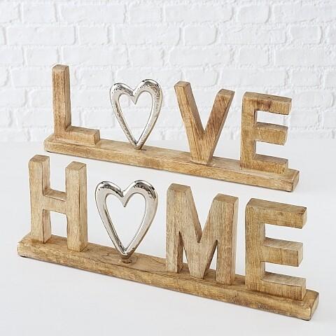 Schriftzug Love Home, 2 sort.,