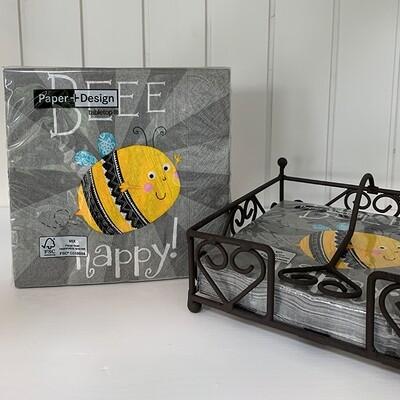 Lunchservietten: Bee Happy!