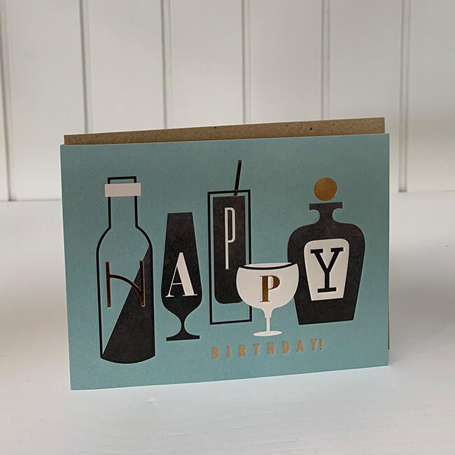 Doppelpostkarte: Happy Birthday (Flaschen)