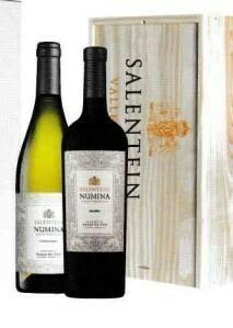 Salentijn Numia Chardonnay en Malbec in houten kist