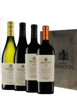 Salentein Barrel Selection Chardonnay, Pinot Noir, Merlot en Malbec in houten kist