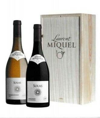 Laurent MiqueI Solas Reserve Chardonnay en Solas Reserve Syrah-Grenache in houten kist