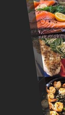Gourmet schotel pakket +/-800 gram 2 pers. Samenstelling: Zalmfilet, Zeebaarsfilet  gekruid, Scampi French garden