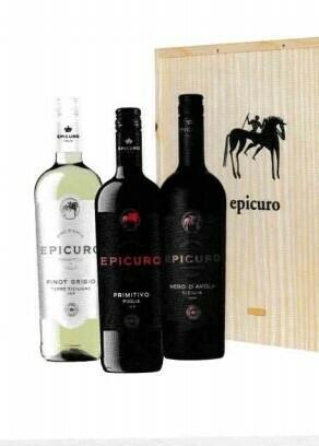 Epicuro Pinot Grigio, Primitivo Puglia en Nero d'Avota in houten kist