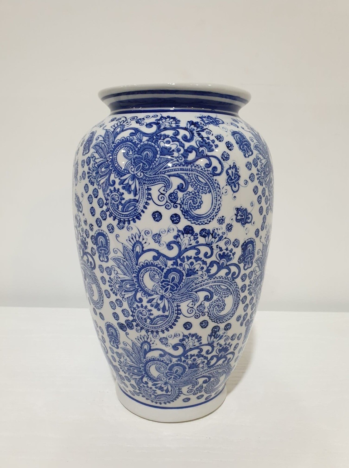 Vase-Blue/White Toile