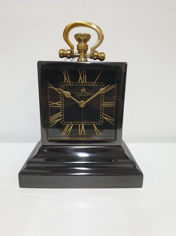 Clock-Black/Gold Square