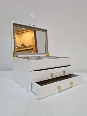 Jewellery Box-White 2 drawer