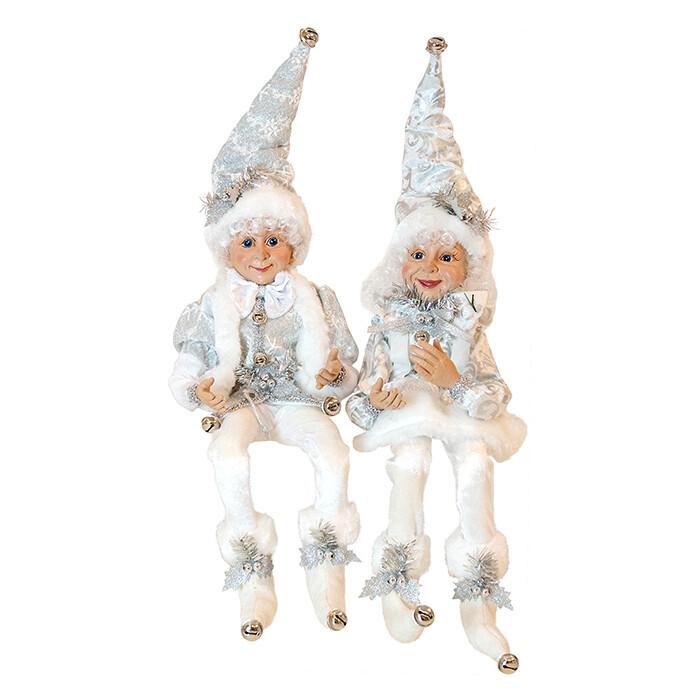 Sitting Gnome-White Silver Male
