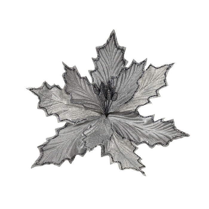 Clip on Poinsettia Dark Grey