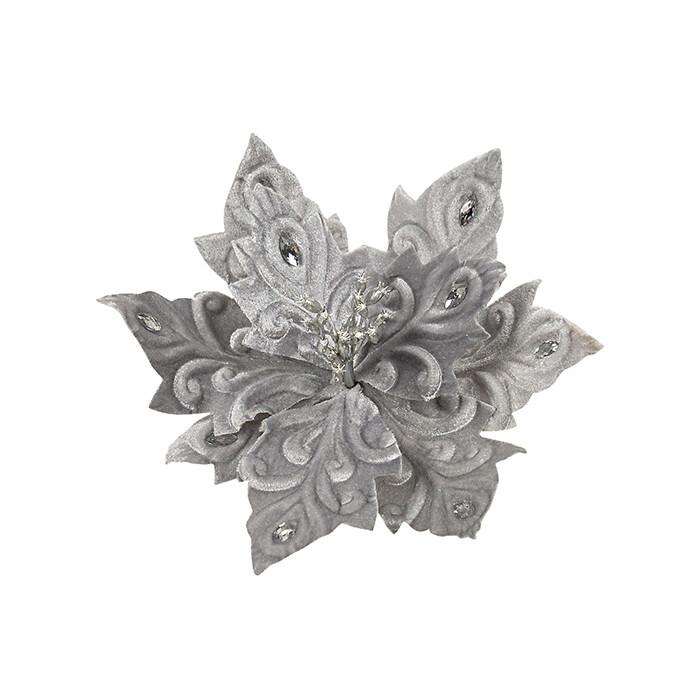 Poinsettia Silver w Jewel Petal