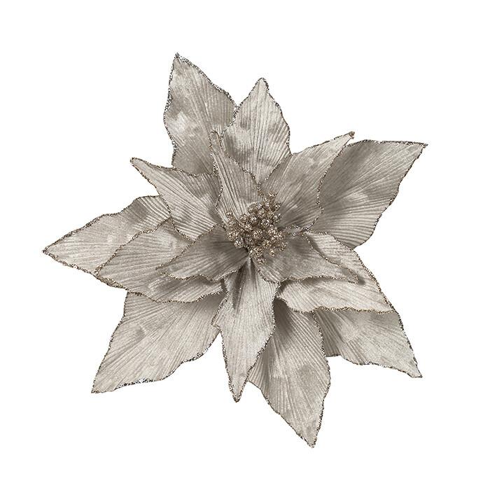 Poinsettia Silver Glitter Edge