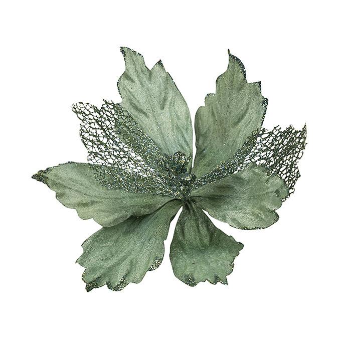 Poinsettia Teal Skeleton Leaf
