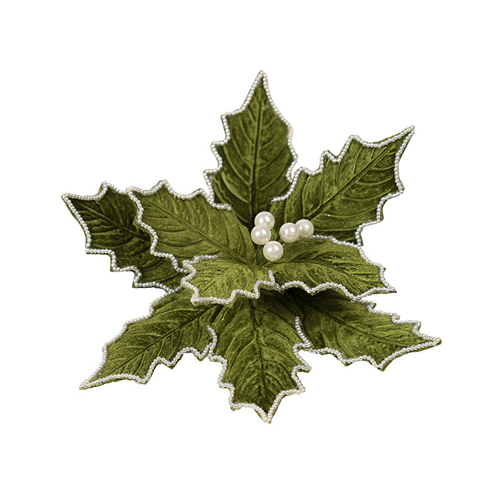 Poinsettia Holly Green Pearl Edge