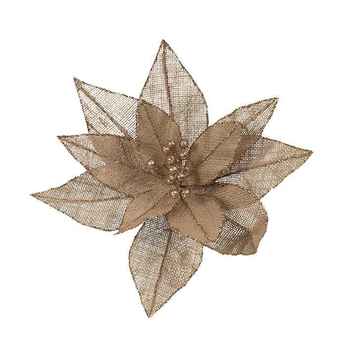 Poinsettia Natural Hessian