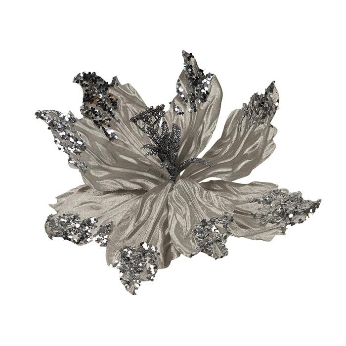 Poinsettia Shiny Platinum Silver