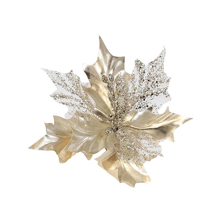 Poinsettia Light Champagne Skeleton Leaf