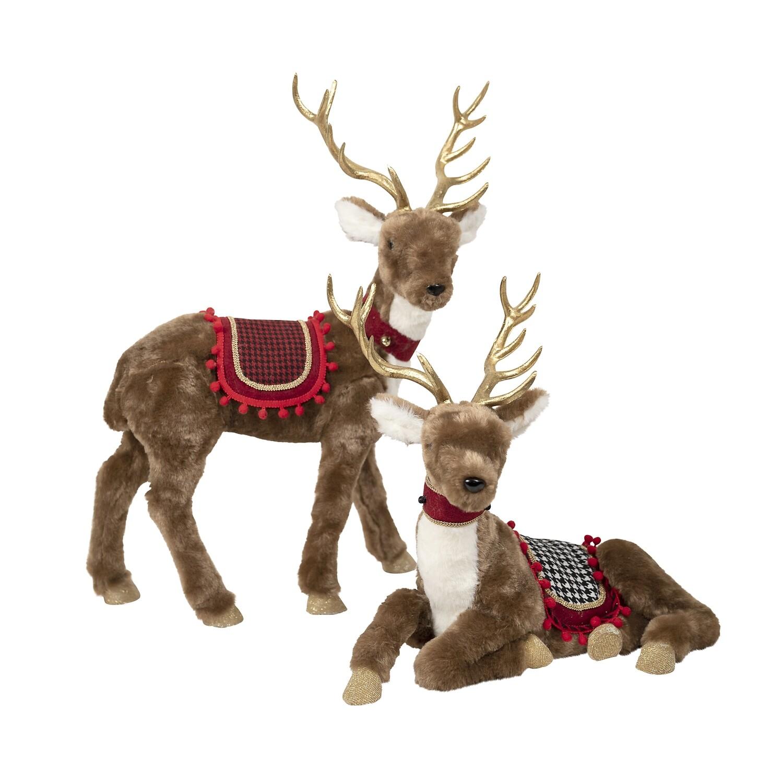 Deer-Brown Red Fabric Standing